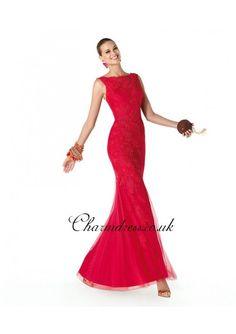 Red Lace Sheath Long Prom Dress