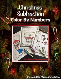 This Christmas math resource includes: FIVE printables and FIVE answer keys for basic subtraction facts with a FUN Christmas Math Theme! Christmas Color By Number, Christmas Colors, Christmas Math, Christmas Ideas, Merry Christmas, Subtraction Activities, Classroom Management Tips, 2nd Grade Teacher, Color By Numbers