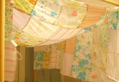 Vintage sheets canopy <- would this not make the most awesome princess fort?  I need to make one for B!