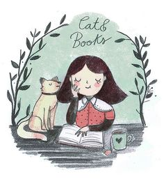 Books and a cat.