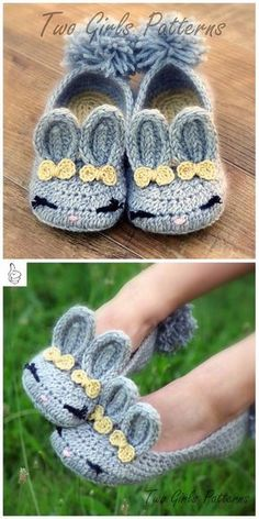 Crochet Women Slippers Shoe Patterns -Crochet Women's Bunny House Slippers