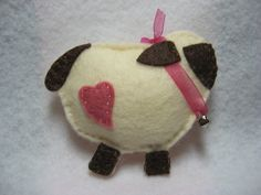 Easter Pin Wool felt cream and brown sheep lamb