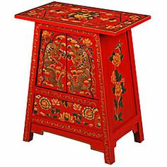 Red Tibetan Hand Painted Gold Dragons End Table