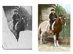 Even old photos with missing torn parts can be restored. Color can also be added to black and white photos.  v#familytree #genealogy #familyhistory