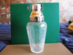 Vintage Art Glass sweden cocktail mixer Silverplate very nice