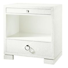 $1105 Bungalow 5 Frances 2 Drawer Side Lacquered grass cloth: chrome handles: steel glides.  http://shopcandelabra.com/bungalow-5-frances-2-drawer-side.html