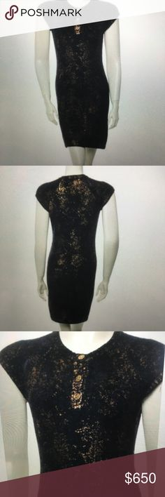 Chanel Paris-Byzance Metallic Knit Dress 100% Authentic- worn once! Perfect for the upcoming holiday season! Size XS F34 but has stretch - 35 inches in length- gorgeous bodycon style Black with Navy & Metallic Gold paint print throughout and button closure at neck -  **PLEASE note - I will be out of town from 12/7 through the New Year and unable to ship- grab this beauty now! 46% Cashmere/34% Rayon/30% Nylon CHANEL Dresses Mini