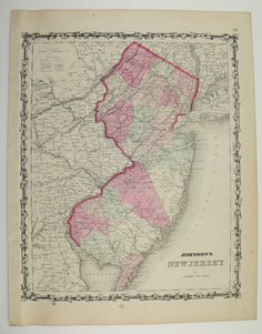 Vintage Map New Jersey 1862 Johnson Map Antique Us East Coast Travel Map Old