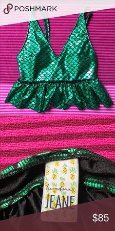 Kortni Jeane 👙 Kortni Jeane Mermaid V-neck top • Size Medium • Never been worn • ⭐️ Looking to trade for a size Medium KJ swing style top!! ⭐️ Kortni Jeane Swim Bikinis