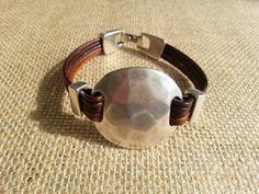 Leather Bracelet Zamak Bracelet Disc by TribalandmoreJewelry