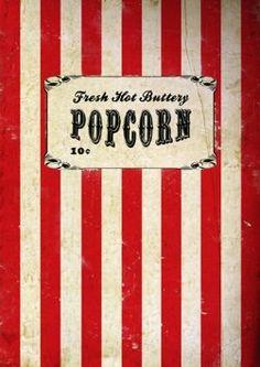 Vintage Retro Movie Popcorn Poster Print wall art home decor film circ Retro Kunst, Retro Art, Retro Vintage, Vintage Style, Vintage Circus Posters, Carnival Posters, Circus Art, Circus Theme, Circus Tents
