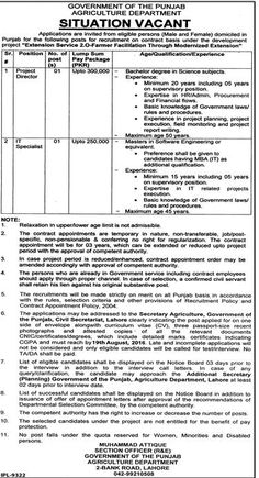Jobs in Govt. of Punjab (Agricultural Department)