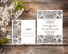Wedding invitation template - SVG, DXF, ai, CRD, eps - Laser Paper Cut - Silhouette Cameo- Cricut - Instant Download 127 by TanyaStudioShop on Etsy