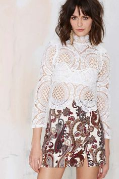 Asilio White Walls Lace Crop Top - Cropped