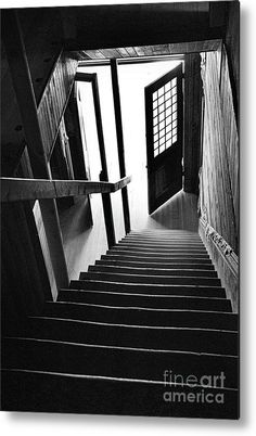 "#Staircase Metal Print featuring the photograph ""Exit"" by Lauren Leigh Hunter Fine Art Photography #blackandwhite"