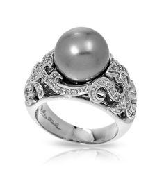 ♥ #BelleEtoile exclusively at #Capri #Jewelers #Arizona ~ http://www.caprijewelersaz.com/Belle-Etoile/35600001/EN ♥ Fiona Grey Ring by Belle Etoile. Grey. Fashion Jewelry. Intricately detailed. Silver. Jewelry.
