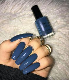 I wouldnt have my nails this long but the color nail designs Aycrlic Nails, Blue Nails, Manicure, Coffin Nails, Luxury Nails, Nail Swag, Best Acrylic Nails, Dream Nails, Gorgeous Nails
