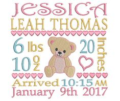 Birth Announcement Embroidery Design  Baby Feet Embroidery