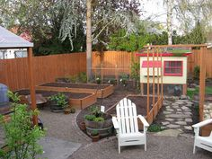 Everything and more: raised beds, chicken coop, patio with fire pit (outside of this photo).