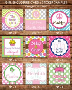 24 Square Personalized Girl Enclosure Cards or by ohsuzyqdesigns