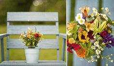 Pretty summer bouquet with sunflowers, daisies, lillies and greens