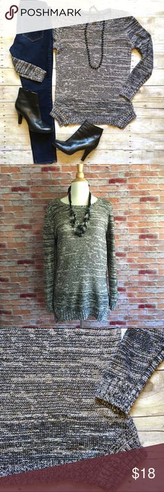 "Style & Co. Marled shimmer tunic sweater This tunic sweater layers perfectly over leggings or skinnies. Black and white with gold shimmer. Gently loved. 76/15/9 arcrylic, poly, metallic. 27""L. 19"" bust laying flat. Size Medium. Shown on size 4 dress form. *Ankle boots pictured are also available in my closet, buy the look and save! Style & Co Sweaters Crew & Scoop Necks"