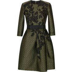 Elie Saab Dancing Forest Jacquard Dress ($5,875) ❤ liked on Polyvore featuring dresses, round neck dress, circle skirt, jacquard dress, elie saab and tailored dresses