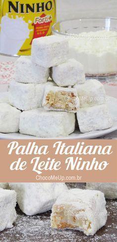 Receita de Palha Italiana de Leite Ninho. Docinhos super cremosos feitos de brigadeiro de leite ninho e biscoito maizena. #receita #leiteninho #palhaitaliana # #leiteempó #doce #sobremesa #receitafácil #receita rápida