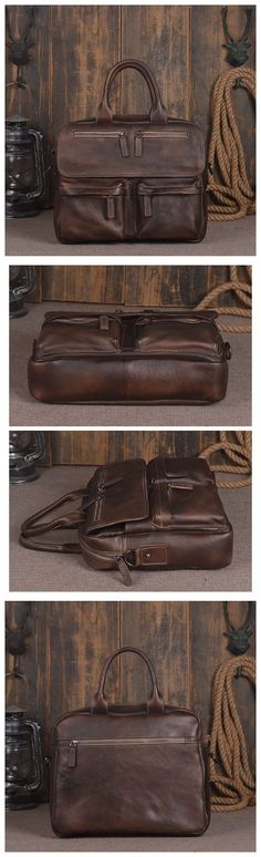 Handmade Vintage Genuine Leather Men's Briefcase Messenger Bag Laptop Bag in Dark Brown 14134