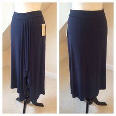 NWT Michael Kors Maxi Skirt NWT Michael Kors Maxi Skirt...soft cascading front pleats over left leg end in a slightly asymmetry hem...pull on fit with elastic band at waist...comfortable 94% polyester 6% spandex...machine washable. Retail $79.50 MICHAEL Michael Kors Skirts Maxi