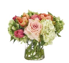 GUEST ROOMRose Hydrangea, Pink Cream, Glass Pyramid, 12wx13dx11h KF347