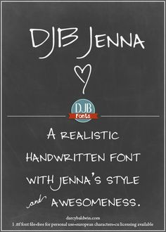 DJB Jenna Font –  A versatile, unicase, hand drawn font that's perfect for text and displays as well as for invitations. It contains European langauge characters and is free for personal use. Commercial licensing available at darcybaldwin.com/commercial-use/