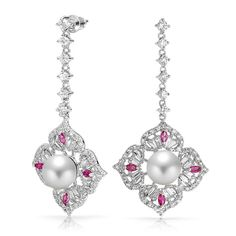 Victorian Style Ruby Color CZ White Pearl Flower Dangle Earrings