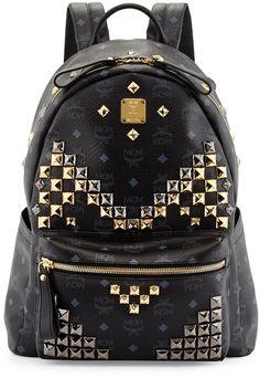 MCM Stark Men's Studded Medium Backpack, Black on shopstyle.com