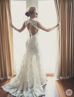 Lace Wedding Dress Open Back Say Yes Dress  Maleah's Wedding    Open Backs, Lace Weddings and Lace Wedding Dresses   fashion style