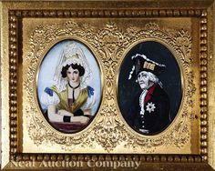 A Pair of Associated French Miniature Portraits on Vellum, 19th c., one of a beauty, the other of French General, the latter initialed and dated 1800