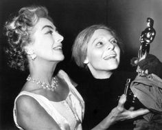 "Unable to attend the Academy Awards, Anne Bancroft receives her Best Actress Oscar for ""The Miracle Worker"" from Joan Crawford at the conclusion of a performance of ""Mother Courage"" on Broadway. May, 1963 Anne Bancroft, Classic Hollywood, Old Hollywood, Santa Monica, Mother Courage, Oscar Academy Awards, The Miracle Worker, Best Actress Oscar, Broadway"