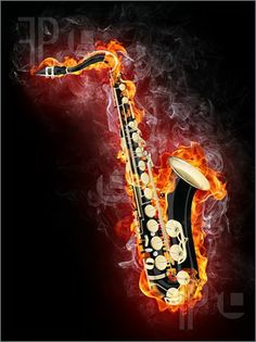 Jazz Saxophone Clip Art | Saxophone In Flame Illustration. Clip Art To Download at FeaturePics ...