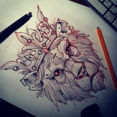 King lion drawing by @Mvtattoo (Instagram)