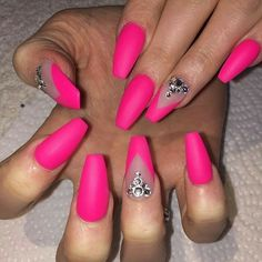 Neon Pink Nails. Ballerina Nails. Nails With Rhinestones. Matte Nails. Acrylic Nails. Gel Nails.