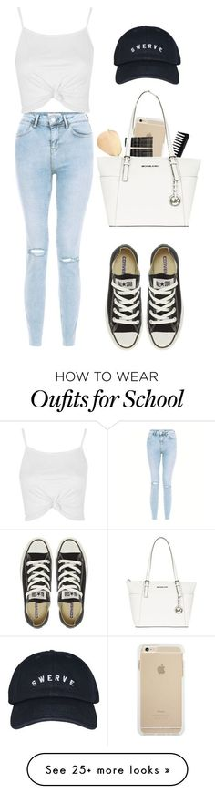 """School tomorrow:("" by styleforever101 on Polyvore featuring Topshop, Ray-Ban, Monki, Converse, GHD and MICHAEL Michael Kors"