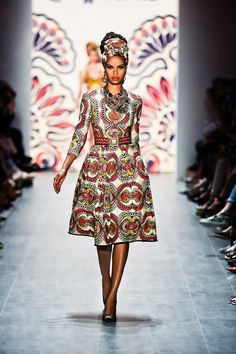 "Graz-based designer Lena Hoschek wowed the audience at Mercedes Benz Fashion Week in Berlin with her designs inspired by African prints. The collection titled ""Hot Mama Africa"""