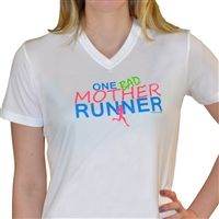 If you are a proud runner and mother, then our One Bad Mother Runner performance tee in bright, neon colors, is perfect for you.  Our moisture-wicking, polyester mesh shirts feature our exclusive running designs