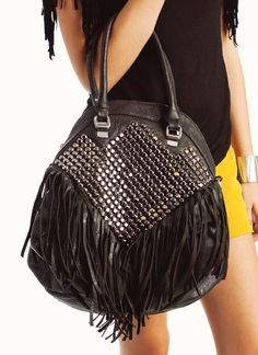 studded fringe leather purse. Need to find in Cognac.