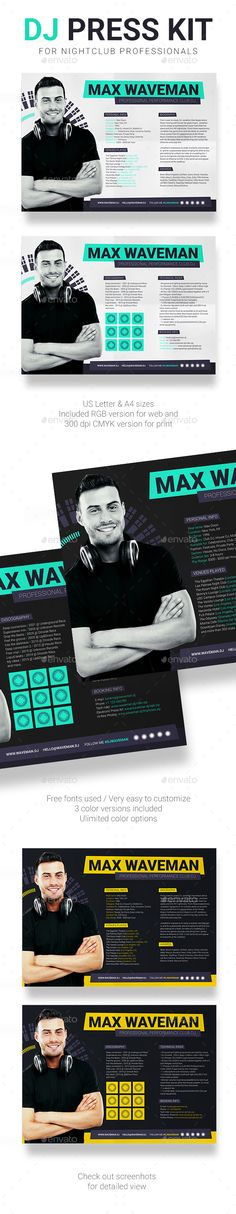 33 best dj press kit and dj resume templates images in 2019