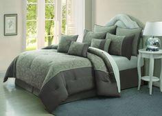 Chic Home Jade Blossom 100-Percent Cotton 9-Piece Comforter Set, Queen