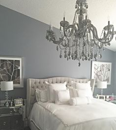 @mrsb915's bedroom is so stunning with our Omni Chandelier + Jameson Bed!