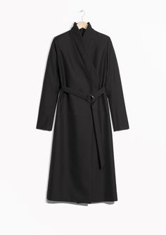 & Other Stories image 1 of Kimono Collar Belted Coat  in Black
