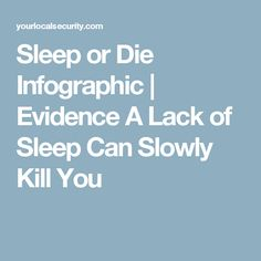 Sleep or Die Infographic | Evidence A Lack of Sleep Can Slowly Kill You