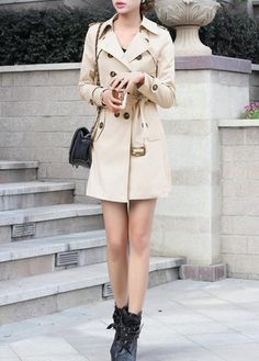 Turndown Collar Double Breasted Trench Coat